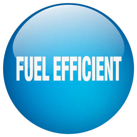 efficient: fuel efficient blue round gel isolated push button