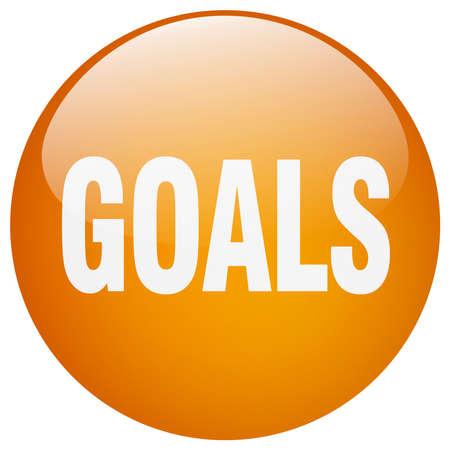 gel: goals orange round gel isolated push button