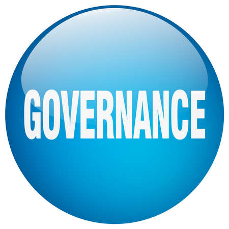 governance: governance blue round gel isolated push button