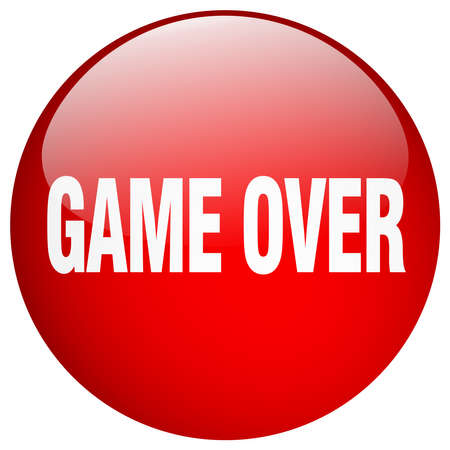 the game is over: game over red round gel isolated push button