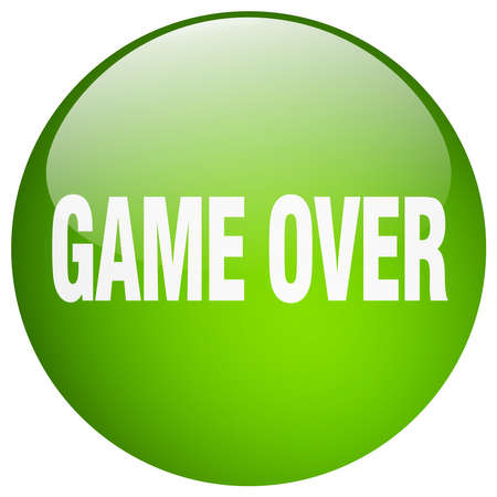 over: game over green round gel isolated push button