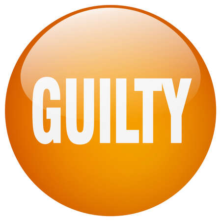 guilt: guilty orange round gel isolated push button