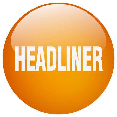 headliner: headliner orange round gel isolated push button Illustration