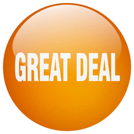 great deal: great deal orange round gel isolated push button