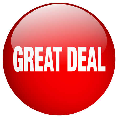 great deal: great deal red round gel isolated push button Illustration