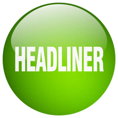 headliner: headliner green round gel isolated push button