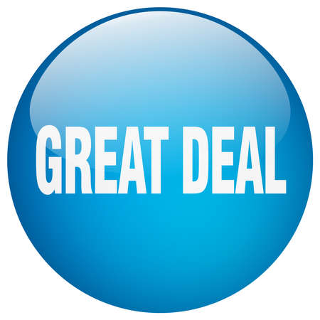 great deal: great deal blue round gel isolated push button
