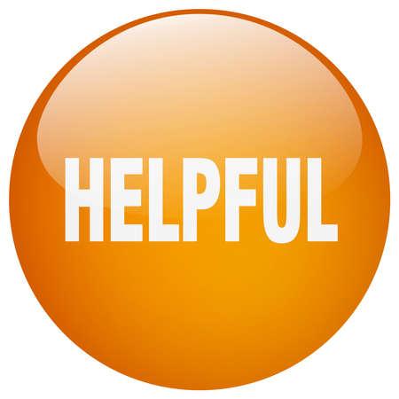 helpful: helpful orange round gel isolated push button