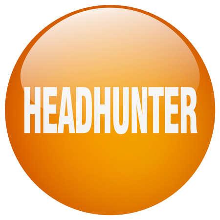 headhunter: headhunter orange round gel isolated push button Illustration