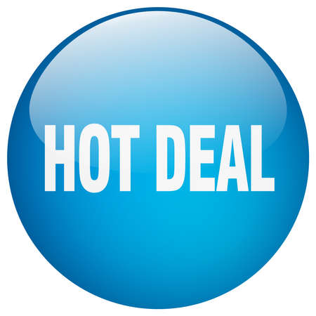hot deal: hot deal blue round gel isolated push button