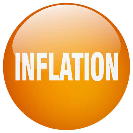 inflation: inflation orange round gel isolated push button