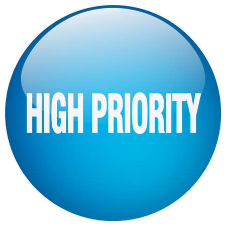 priority: high priority blue round gel isolated push button Illustration