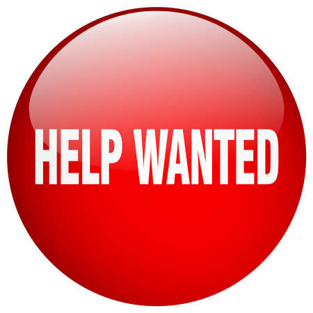 help wanted sign: help wanted red round gel isolated push button