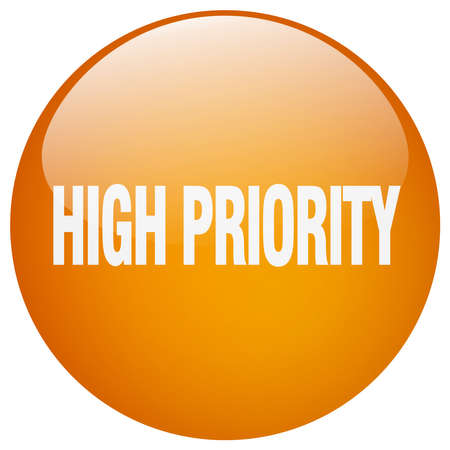priority: high priority orange round gel isolated push button