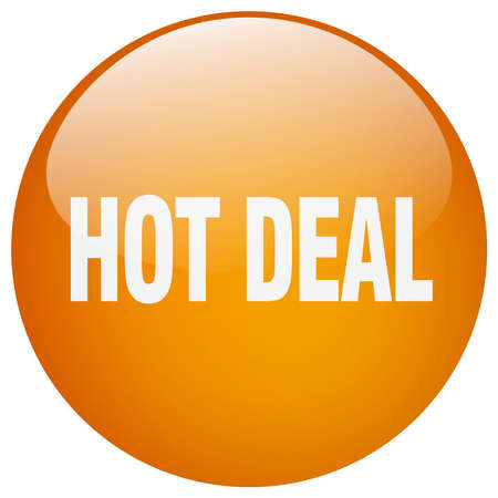 hot deal: hot deal orange round gel isolated push button
