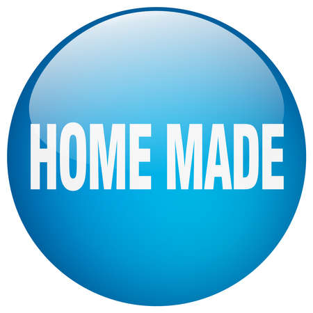 home made: home made blue round gel isolated push button