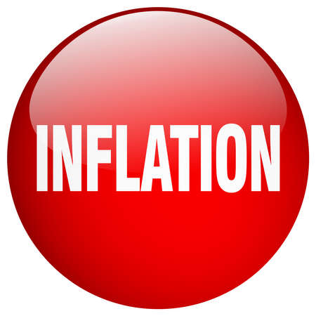 inflation: inflation red round gel isolated push button Illustration