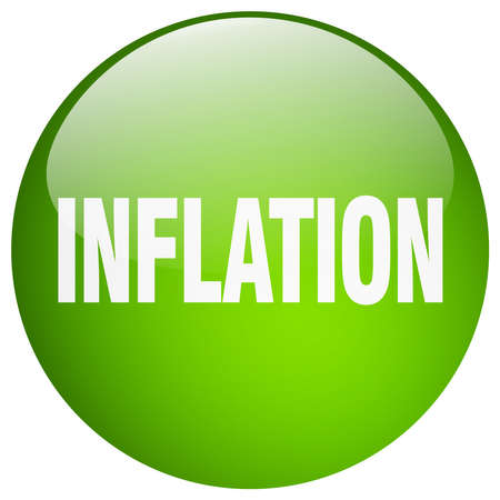 inflation: inflation green round gel isolated push button