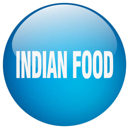 indian food: indian food blue round gel isolated push button