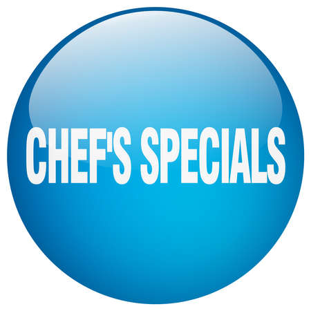 specials: chefs specials blue round gel isolated push button Illustration