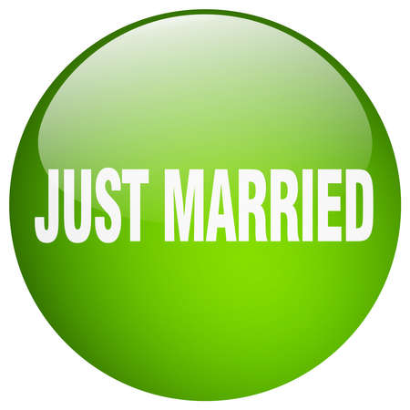 just: just married green round gel isolated push button