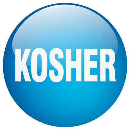 kosher: kosher blue round gel isolated push button