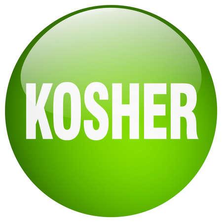 kosher: kosher green round gel isolated push button Illustration
