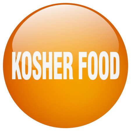 kosher: kosher food orange round gel isolated push button