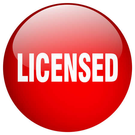 licensed: licensed red round gel isolated push button