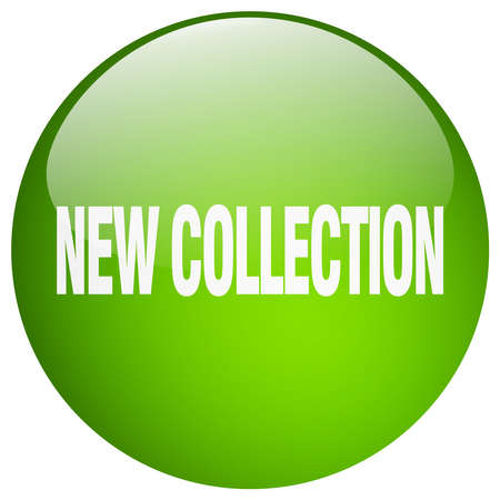 new collection: new collection green round gel isolated push button