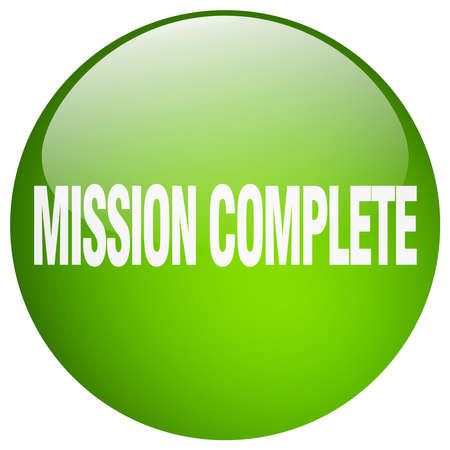 accomplish: mission complete green round gel isolated push button