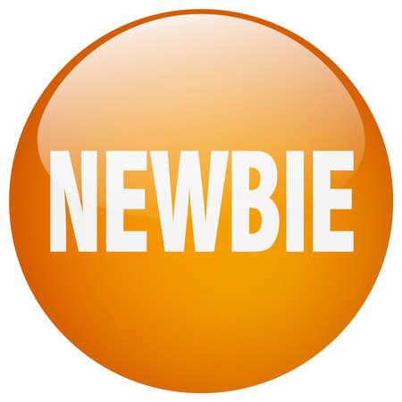 newbie: newbie orange round gel isolated push button