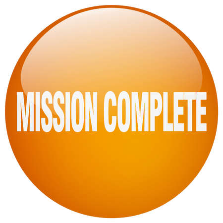 accomplish: mission complete orange round gel isolated push button Illustration