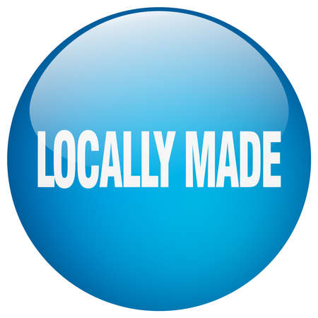 locally: locally made blue round gel isolated push button