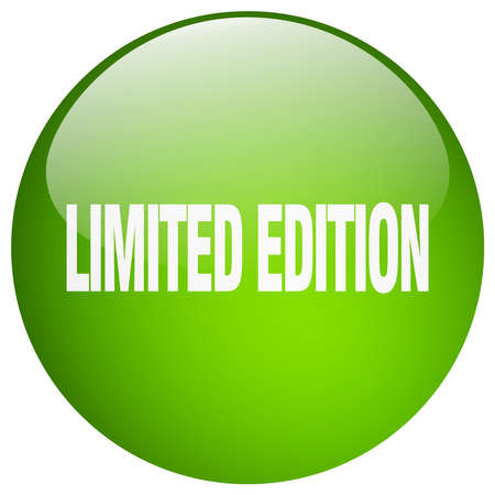 limited edition: limited edition green round gel isolated push button Illustration
