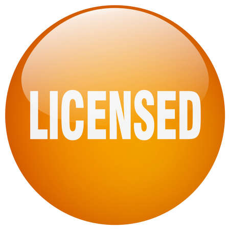 licensed: licensed orange round gel isolated push button