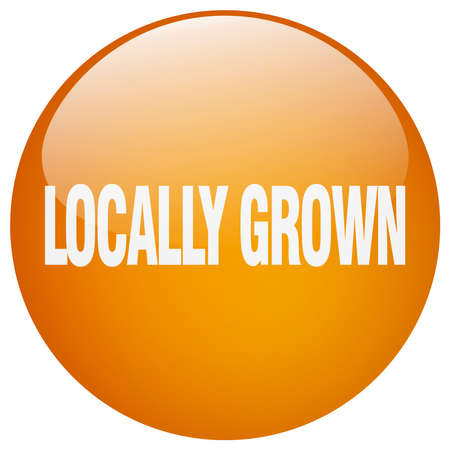 grown: locally grown orange round gel isolated push button