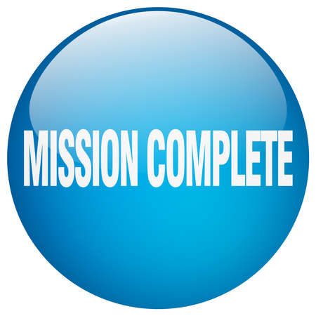 accomplish: mission complete blue round gel isolated push button