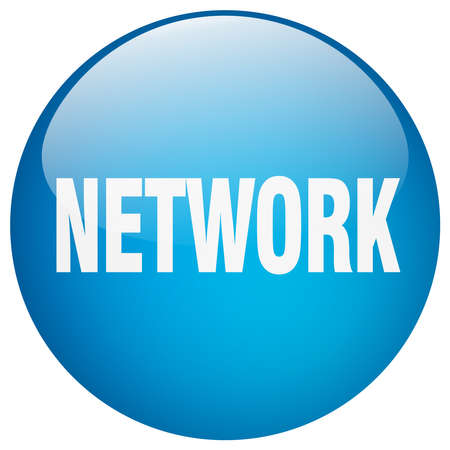 gel: network blue round gel isolated push button