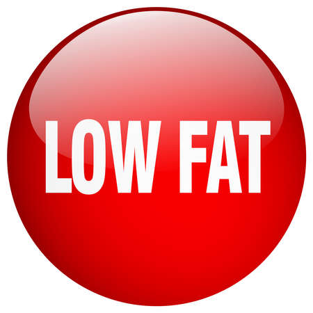 low fat: low fat red round gel isolated push button Illustration