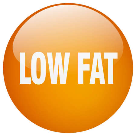 low fat: low fat orange round gel isolated push button