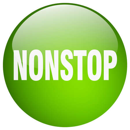 nonstop: nonstop green round gel isolated push button