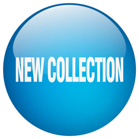 new collection: new collection blue round gel isolated push button Illustration