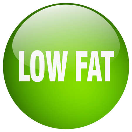 low fat: low fat green round gel isolated push button Illustration