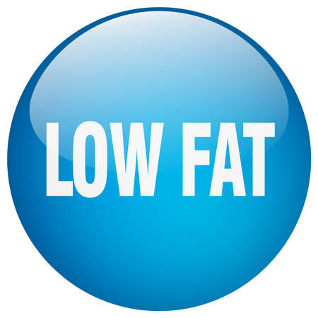 low fat: low fat blue round gel isolated push button