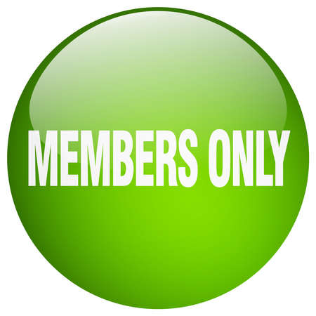 only: members only green round gel isolated push button Illustration