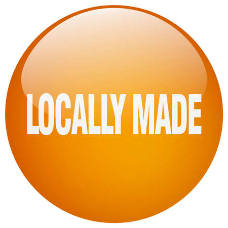 locally: locally made orange round gel isolated push button Illustration