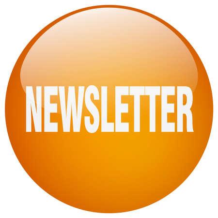 gel: newsletter orange round gel isolated push button