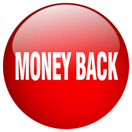 round back: money back red round gel isolated push button
