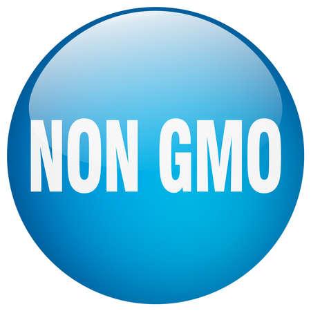 gmo: non gmo blue round gel isolated push button